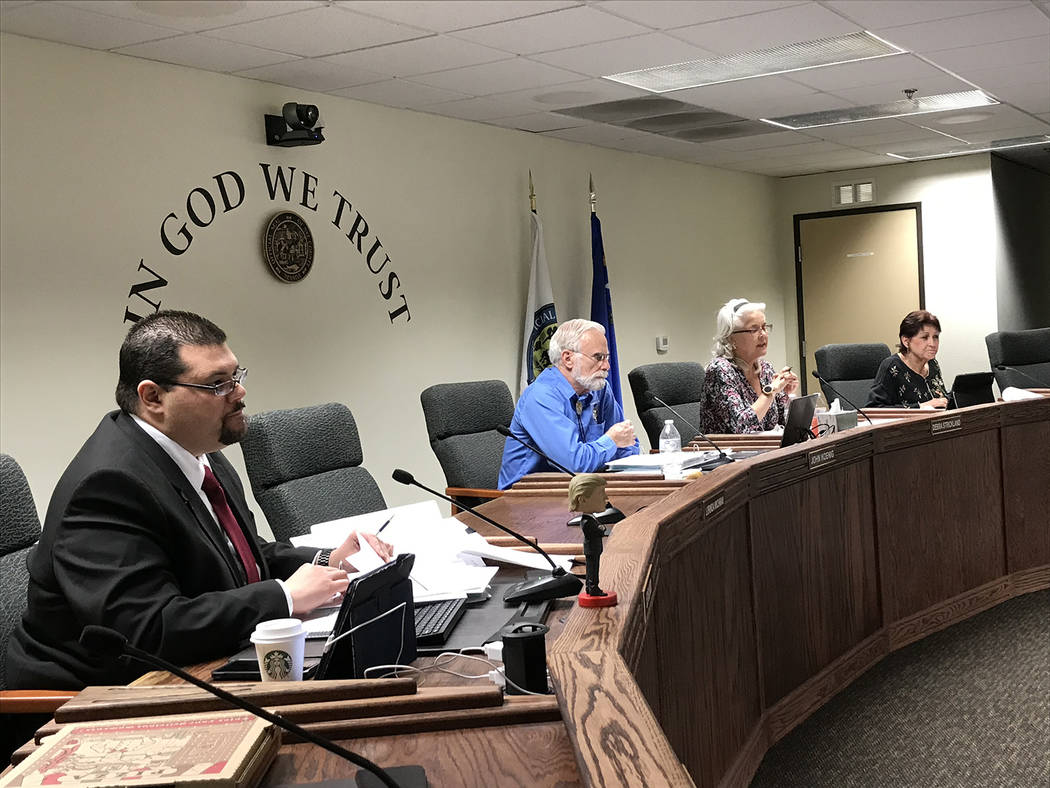 Robin Hebrock/Pahrump Valley Times The Nye County Commission is pictured at the board's Feb. 19 ...