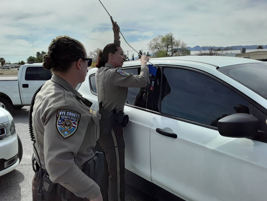 """Selwyn Harris/Pahrump Valley Times Sheriff's deputies utilized what's known as an """"Air We ..."""