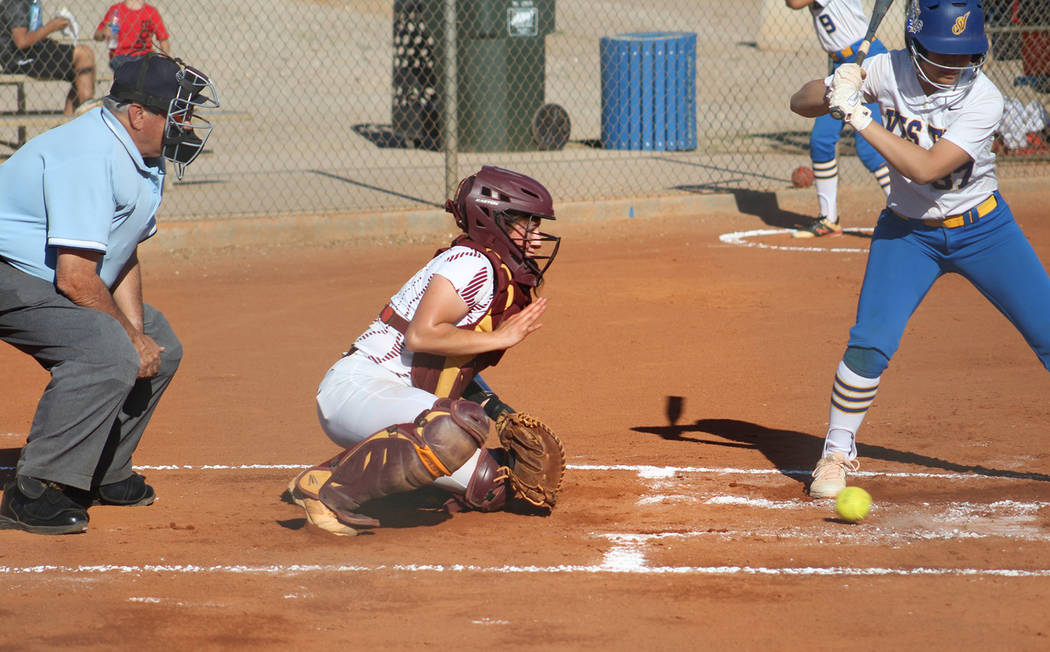 Cassondra Lauver/Special to the Pahrump Valley Times Senior catcher McKayla Bartley goes low to ...
