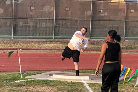 Tom Rysinski/Pahrump Valley Times Pahrump Valley freshman Tannor Hanks uncorks a throw of 33 fe ...