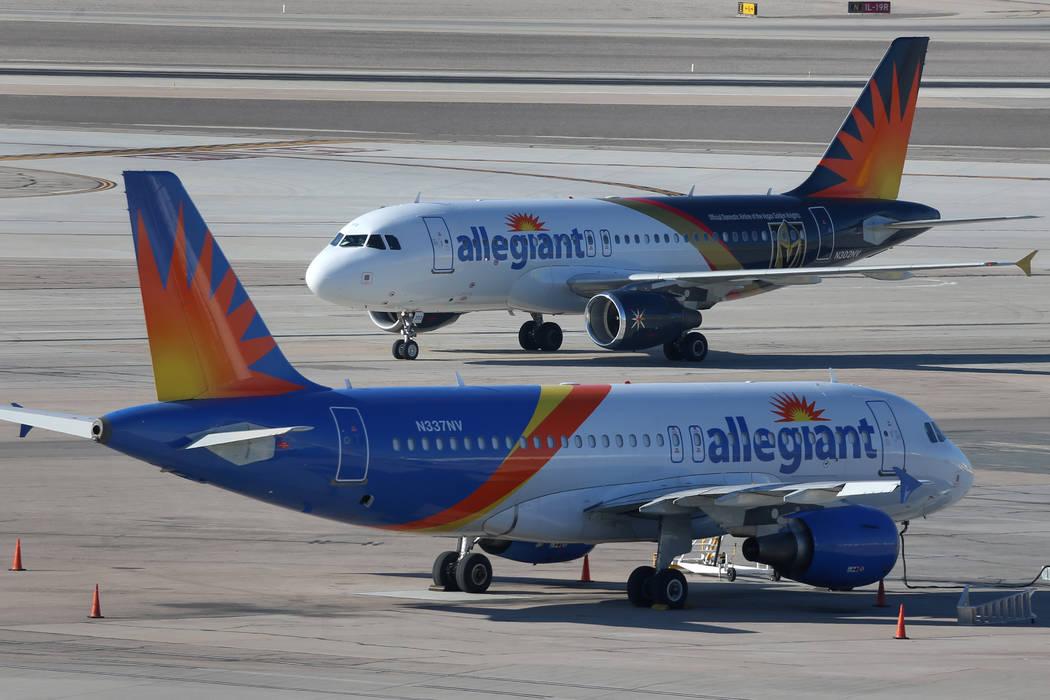 Erik Verduzco/Las Vegas Review-Journal An Allegiant Air airplane taxis at McCarran Internationa ...