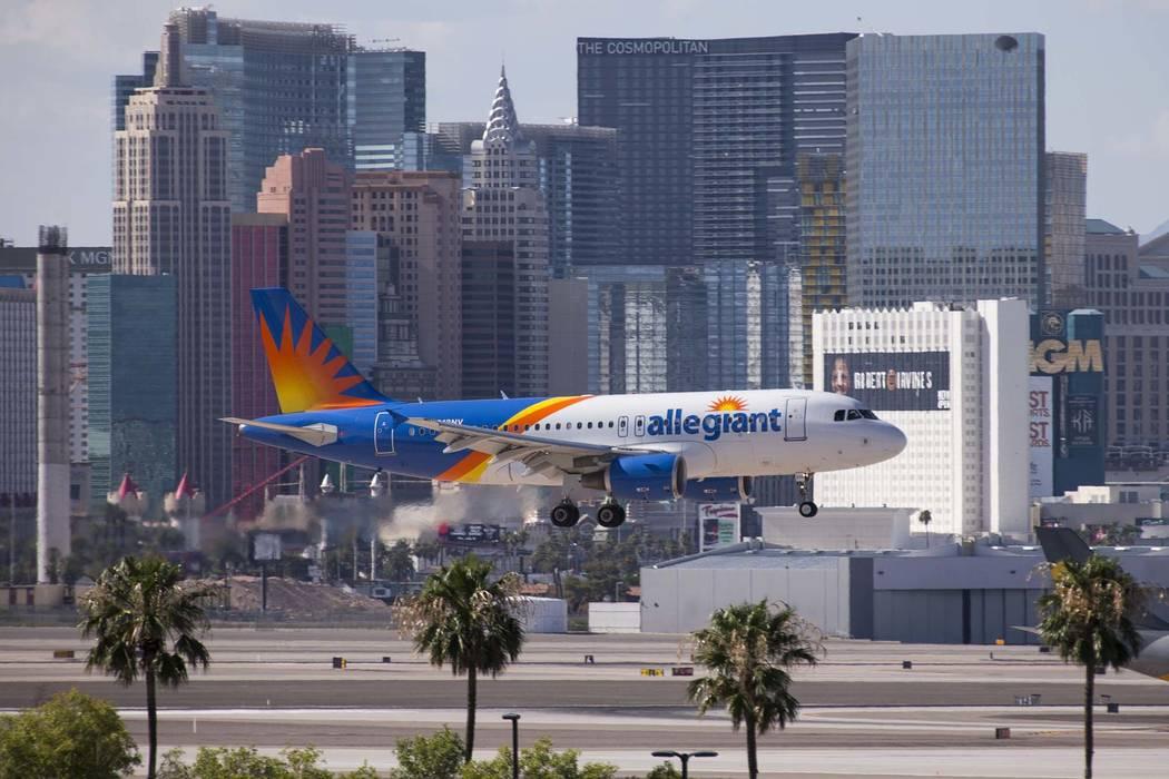 Erik Verduzco/Las Vegas Review-Journal An Allegiant Air flight lands at McCarran International ...