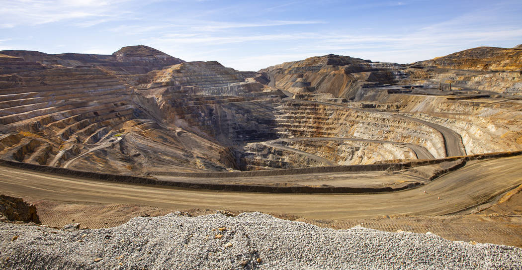 A view of an open pit mine at Nevada Gold Mines' Carlin operation Thursday, Oct. 24, 2019. (Cha ...