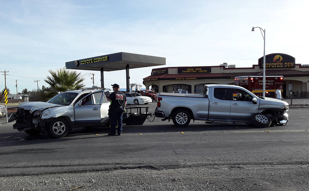 Selwyn Harris/Pahrump Valley Times No serious injuries were sustained following a high impact t ...