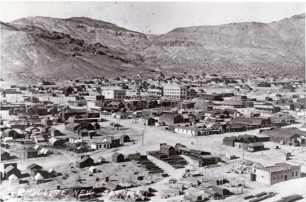 Courtesy of Nevada State Library and Archives A view of Rhyolite in 1908, the same year 20-year ...