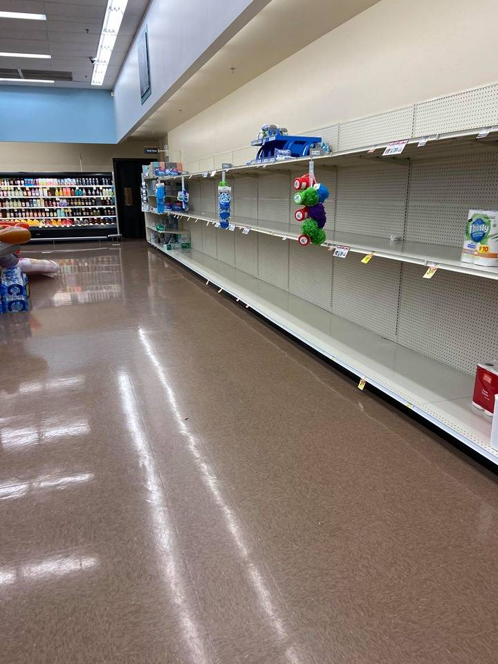 Jeffrey Meehan/Pahrump Valley Times Empty shelves at Albertsons in Pahrump on Friday, March 13.
