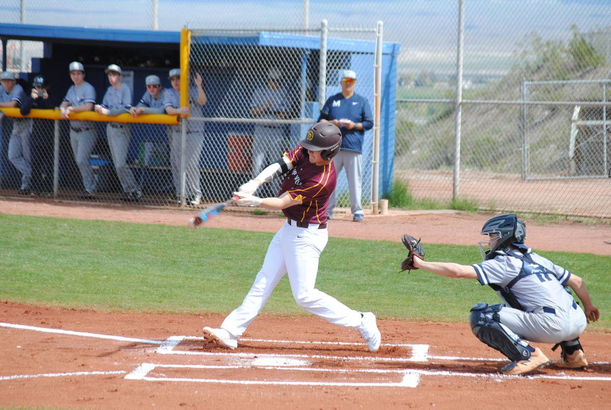 Charlotte Uyeno/Pahrump Valley Times Senior Chase McDaniel totaled 7 hits, including 3 triples, ...