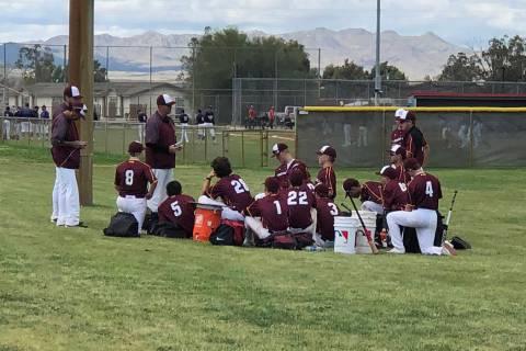 Tom Rysinski/Pahrump Valley Times The Pahrump Valley High School baseball team listens to coach ...