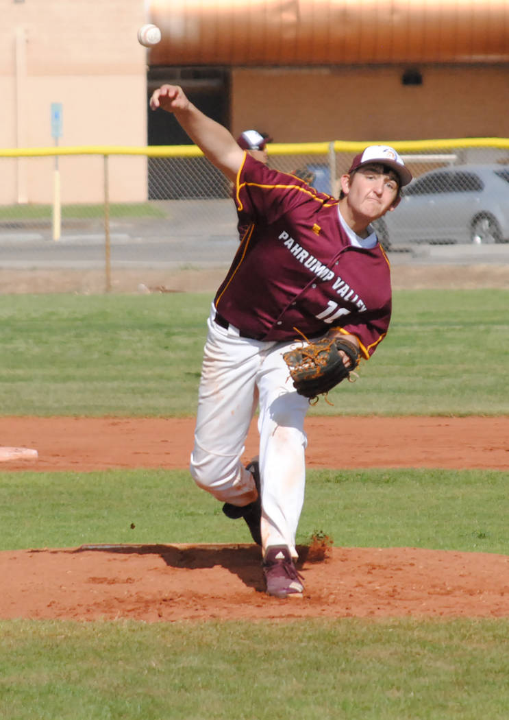 Charlotte Uyeno/Pahrump Valley Times Pahrump Valley junior Jake Riding tallied 8 strikeouts aga ...