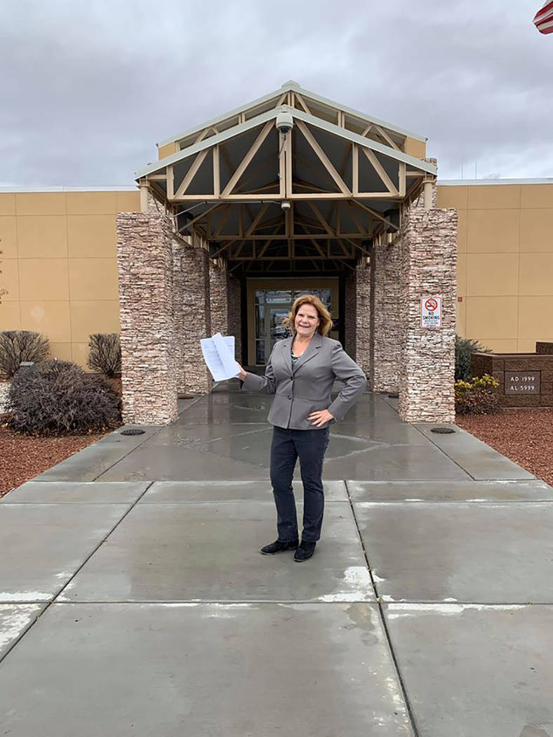 Special to the Pahrump Valley Times KPVM TV reporter Deanna O'Donnell is pictured proudly holdi ...