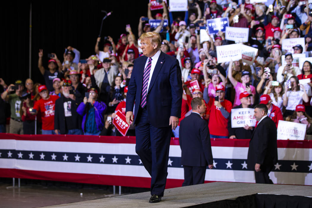Chase Stevens/Las Vegas Review-Journal President Donald Trump arrives for a rally at the Las Ve ...