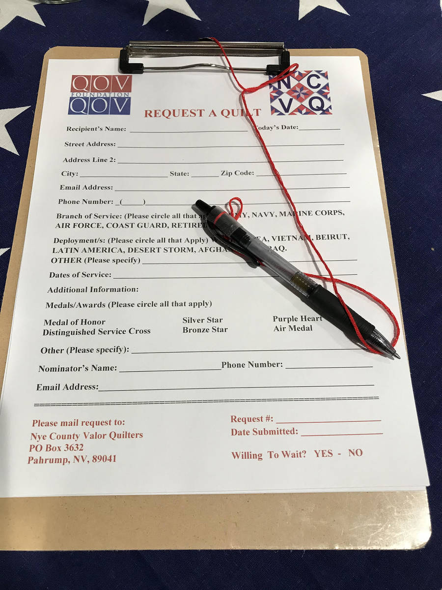 Robin Hebrock/Pahrump Valley Times The Nye County Valor Quilters are always accepting applicati ...