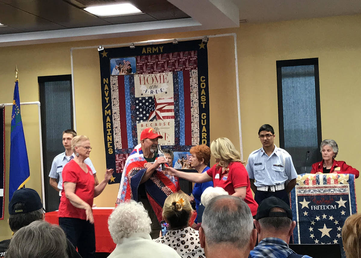 Robin Hebrock/Pahrump Valley Times Marine Corps veteran Gary Bennett is pictured beaming from e ...