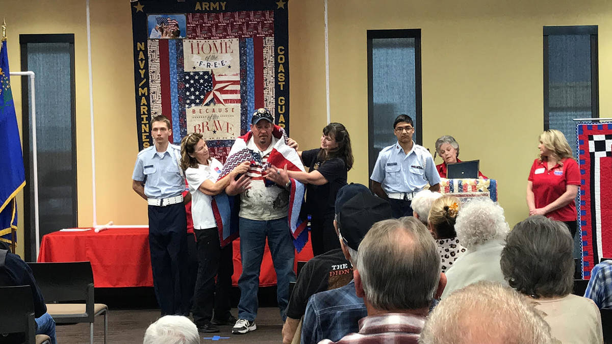 Robin Hebrock/Pahrump Valley Times Navy veteran Marty Aguiar, commander of the Veterans of Fore ...
