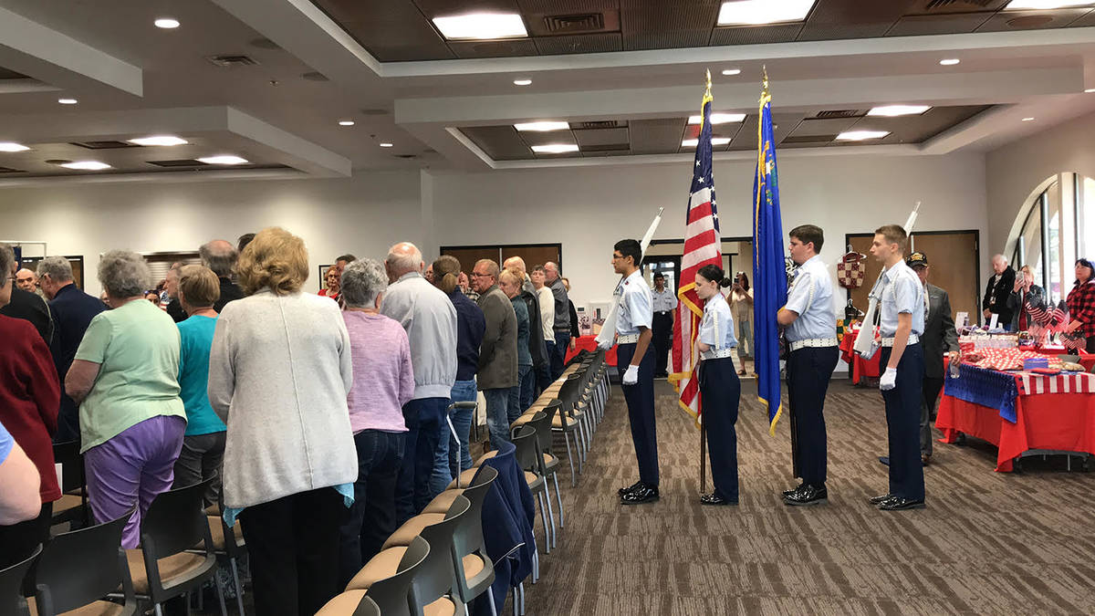 Robin Hebrock/Pahrump Valley Times The Youth Civil Air Patrol, under the command of Wendy White ...
