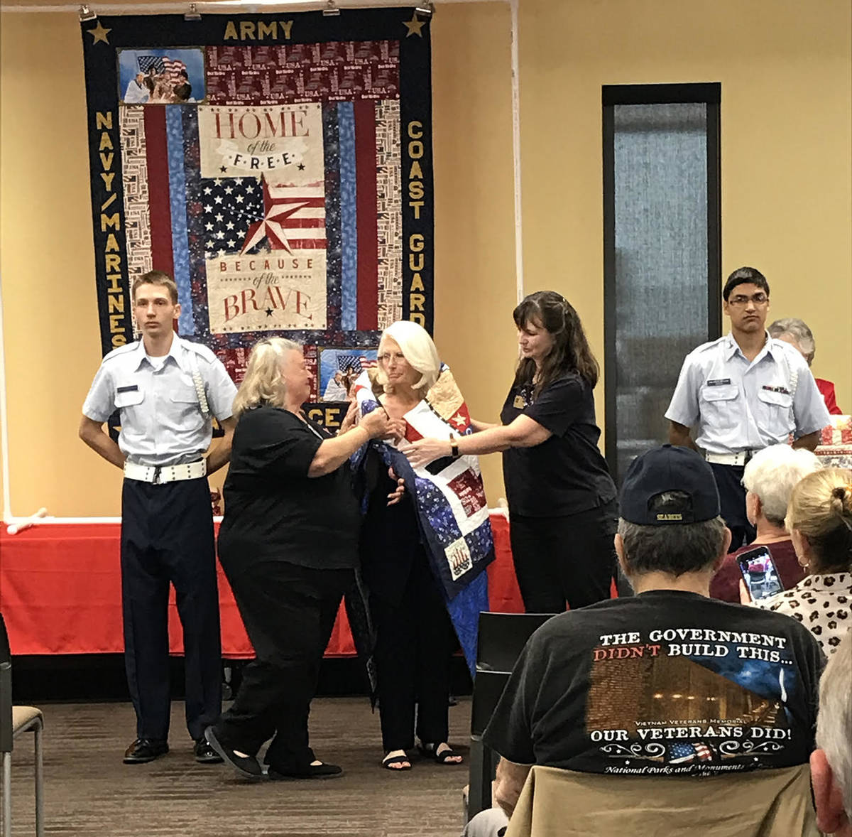 Robin Hebrock/Pahrump Valley Times The Nye County Valor Quilters were able to honor one of thei ...