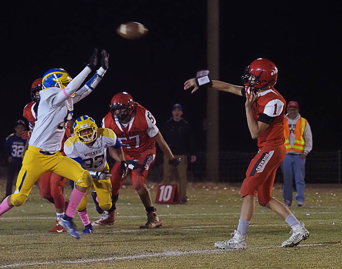 Times-Bonanza & Goldfield News file photo Tonopah High School quarterback Dillan Otteson, shown ...