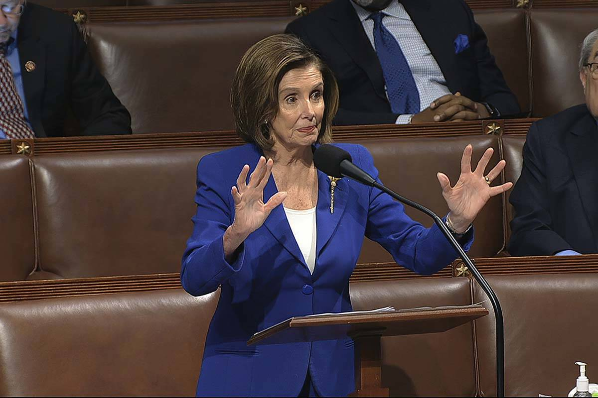 In this image from video, House Speaker Nancy Pelosi of Calif., speaks on the floor of the Hous ...