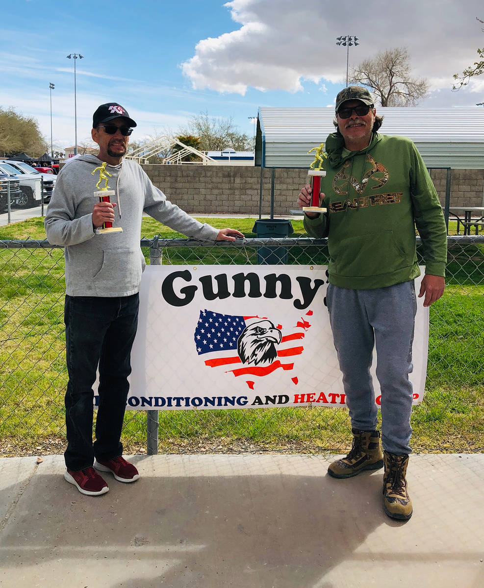 Cindy Barefield/Special to the Pahrump Valley Times Jim Hatch, left, and Lathan Dilger with the ...