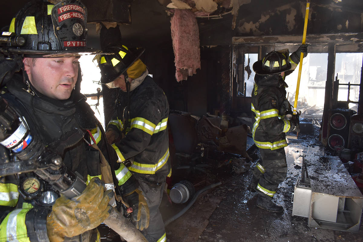 Special to the Pahrump Valley Times Pahrump Valley Fire and Rescue Services crews were dispatch ...