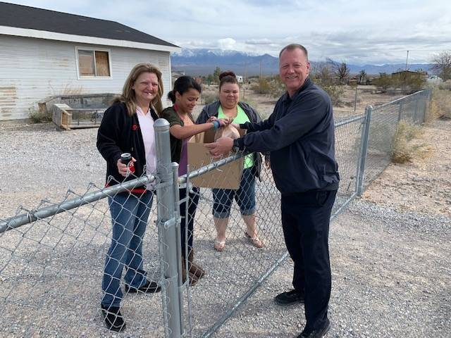 Special to the Pahrump Valley Tmes Nye County School District Superintendent Dale Norton meets ...