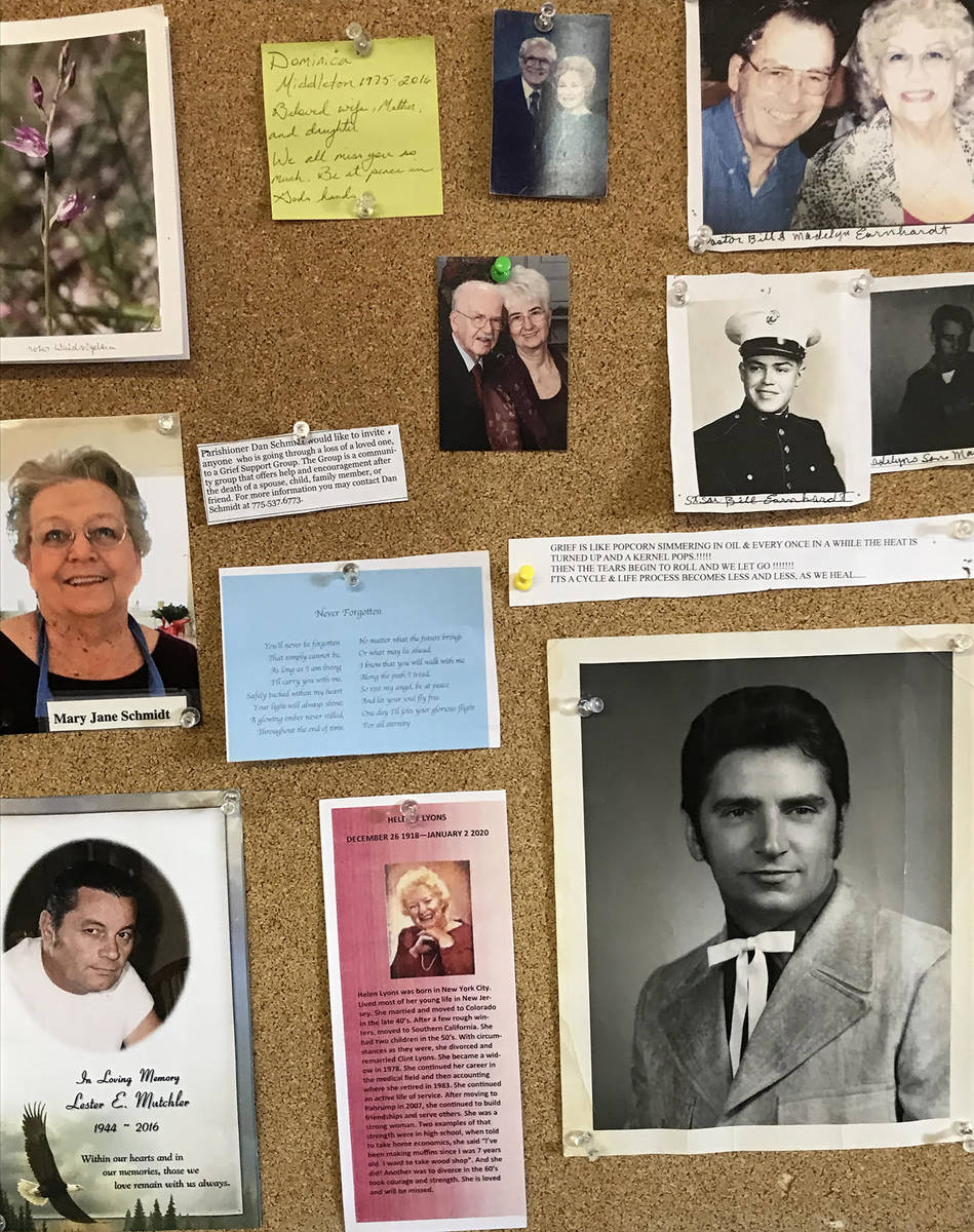 Robin Hebrock/Pahrump Valley Times A poignant display, a bulletin board in the Central Valley B ...