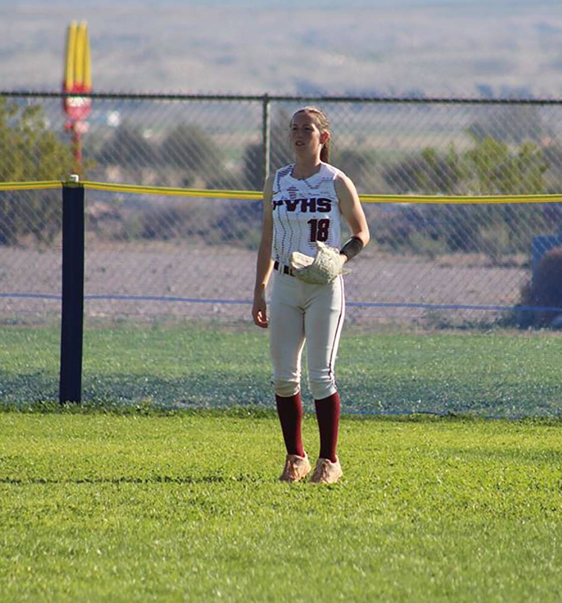 Cassondra Lauver/Special to the Pahrump Valley Times Senior Kiley Lyons in the outfield for Pah ...
