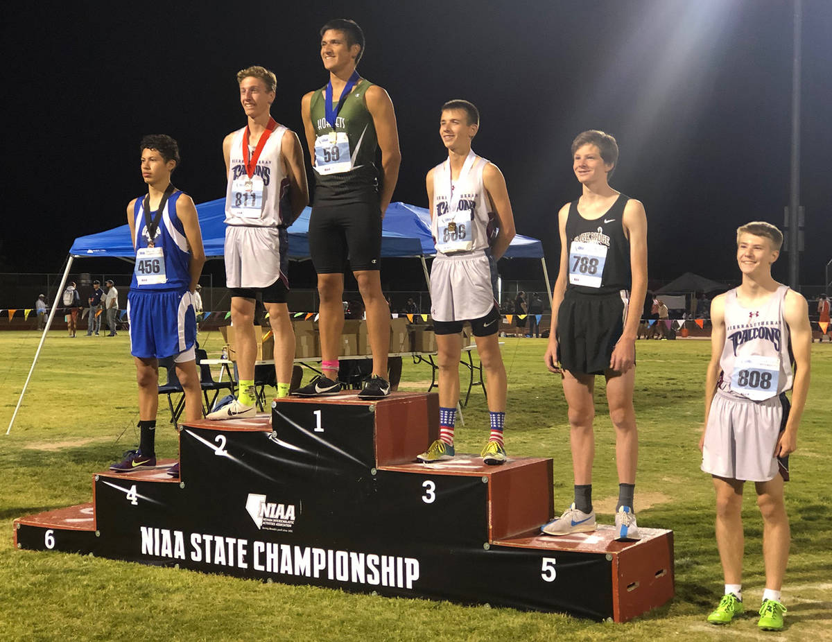 Pahrump Valley Times file Jose Granados is all smiles on the medal stand after winning the boys ...