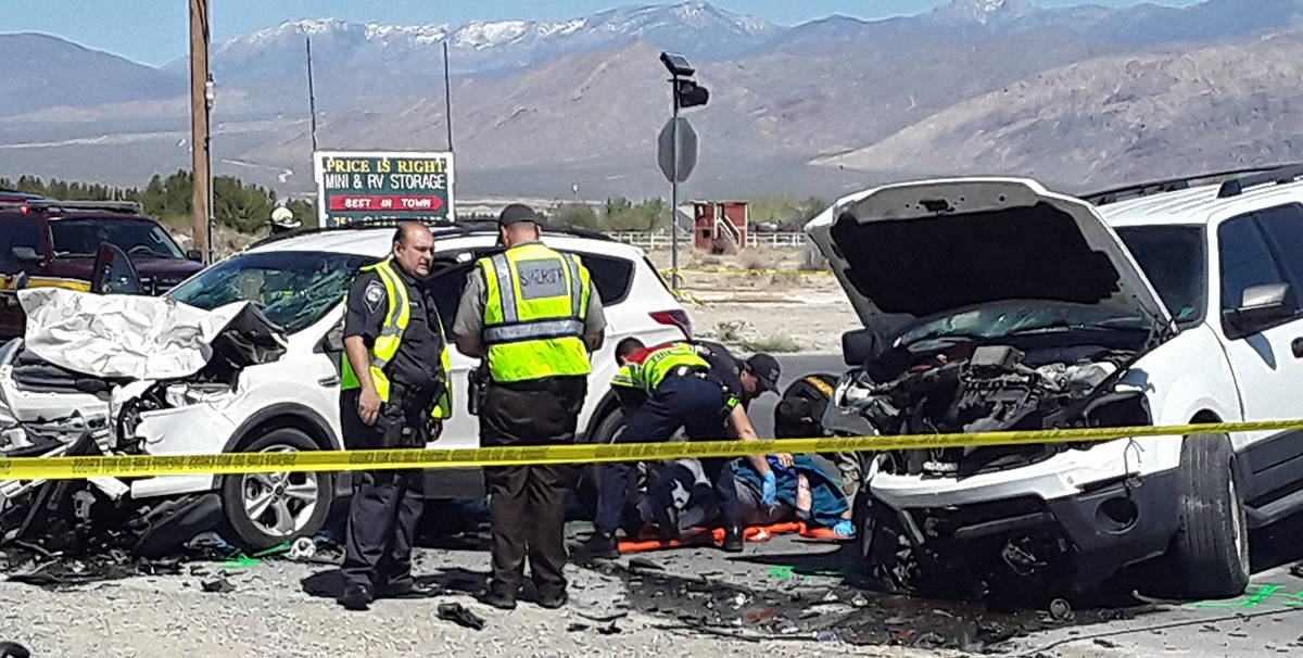 Selwyn Harris/Pahrump Valley Times Paramedics employ lifesaving measures to a patient following ...