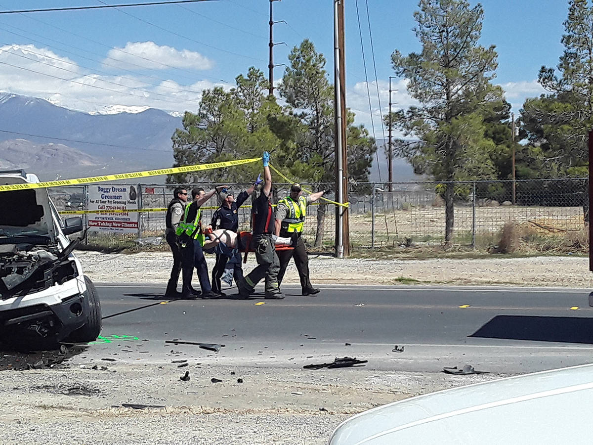 Selwyn Harris/Pahrump Valley Times Mercy Air crew paramedics carry a patient for transport to U ...