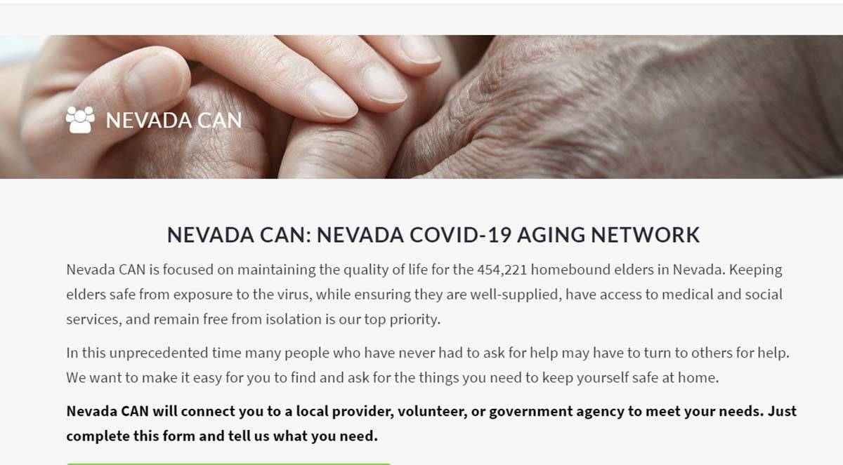 """Screenshot Nevada Can The Nevada CAN website, for Nevada COVID-19 Aging Network, is """"focused ..."""