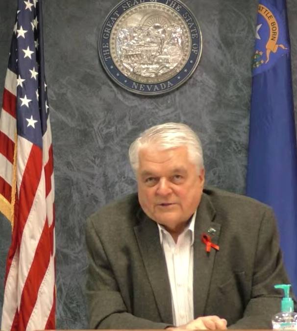 A screenshot of Gov. Steve Sisolak during his YouTube COVID-19 update Monday, April 6, 2020. Th ...