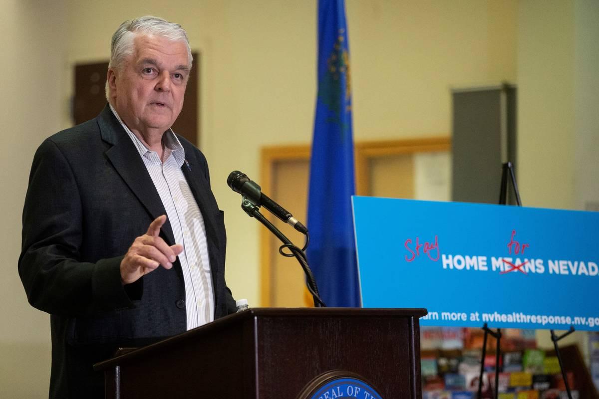 Benjamin Hager/Las Vegas Review-Journal Gov. Steve Sisolak speaks during a press conference to ...