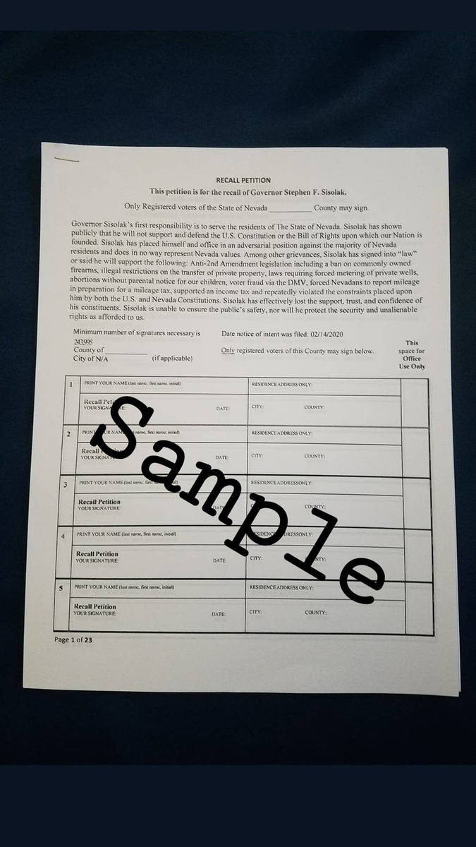 Special to the Pahrump Valley Times A sample of the petition used by Fight for Nevada in its mi ...