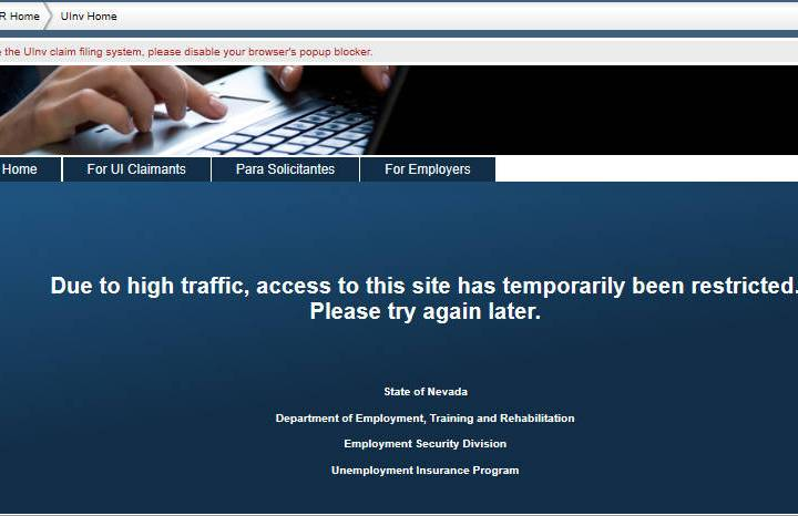 Special to the Pahrump Valley Times A screen shot taken of the Nevada unemployment website on ...