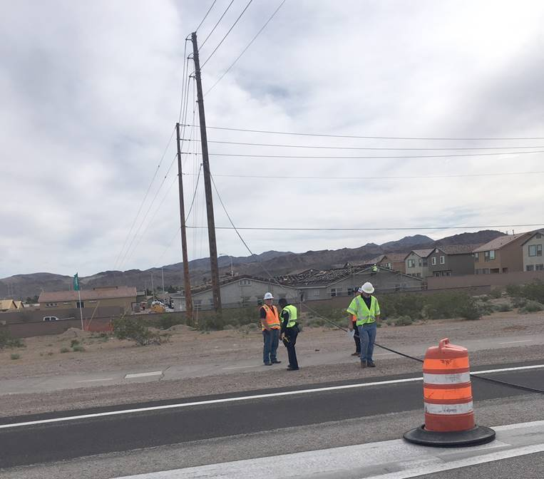 (NDOT) Nevada Department of Transportation construction crews at work in Southern Nevada.