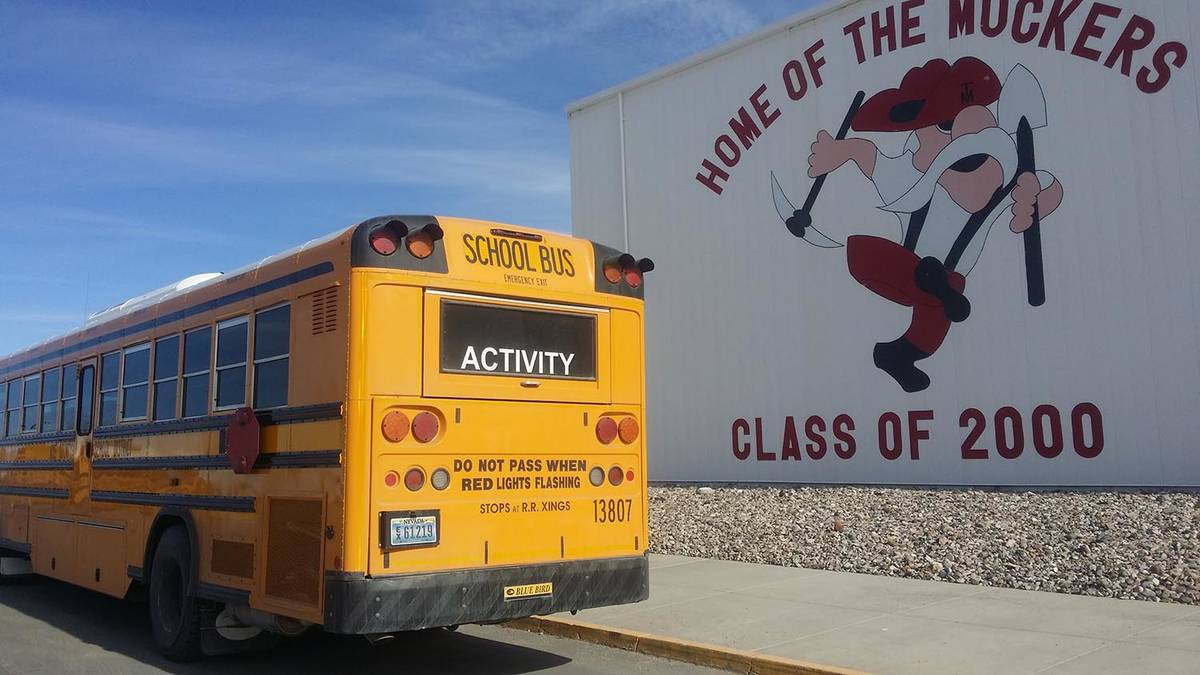 David Jacobs/Pahrump Valley Times A school bus is stopped in front of Tonopah High School as sh ...