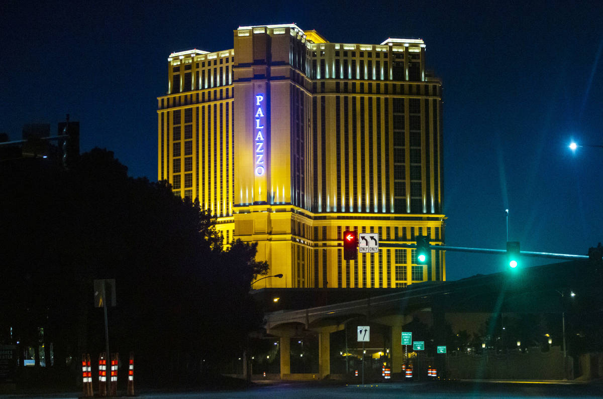 Chase Stevens/Special to the Pahrump Valley Times The Palazzo is lit blue April 2 in memory of ...