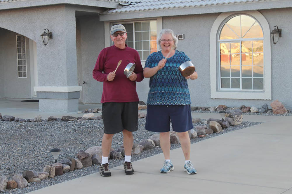 Special to the Pahrump Valley Times Valley residents are shown beating on pots on Friday, April ...