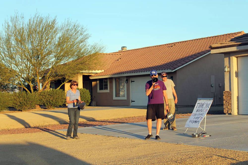 Special to the Pahrump Valley Times Pahrump resident Bill Newyear, pictured with a megaphone, i ...
