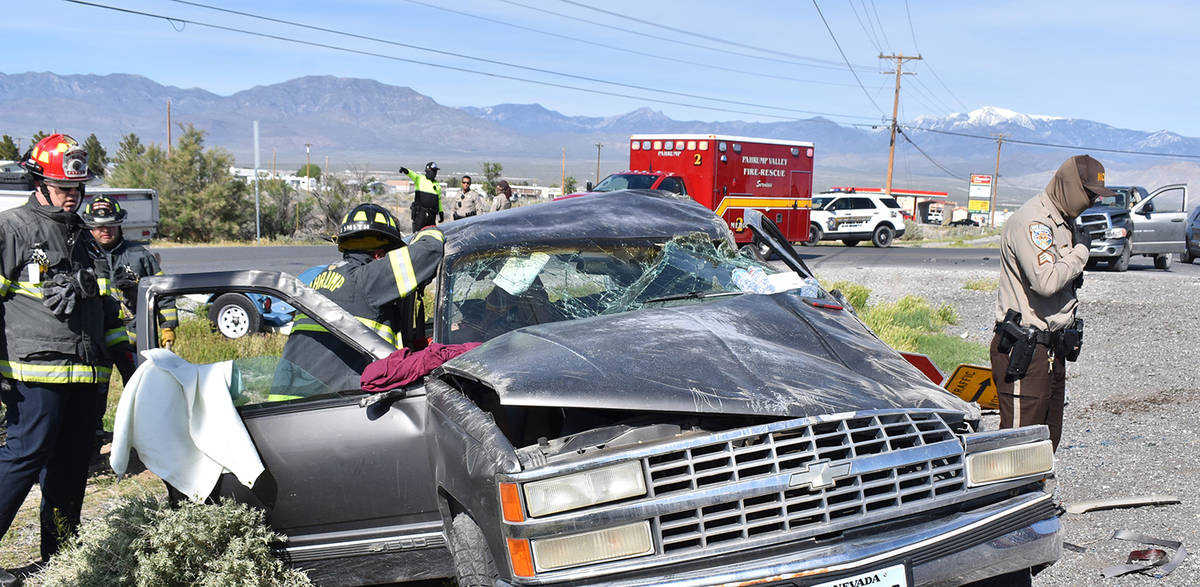 Special to the Pahrump Valley Times Pahrump fire crews were dispatched to the area of Highway 3 ...