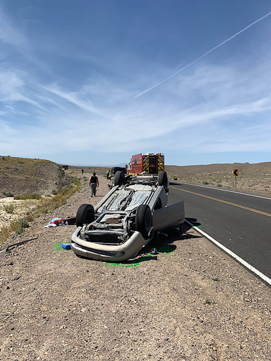 Special to the Pahrump Valley Times One person was transported by Mercy Air following a single- ...