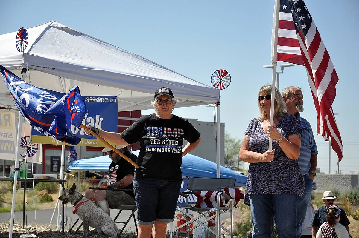 Horace Langford Jr./Pahrump Valley Times - The Reopen Nevada saw area residents out with flags ...