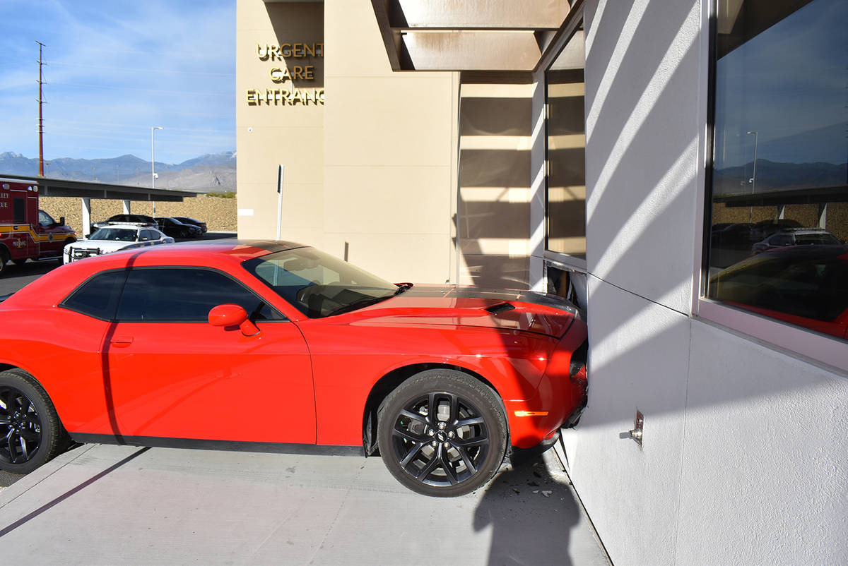 Special to the Pahrump Valley Times No injuries were reported after a car struck the Healthcare ...