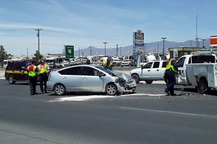 Selwyn Harris/Pahrump Valley Times Area first responders were dispatched to the intersection of ...