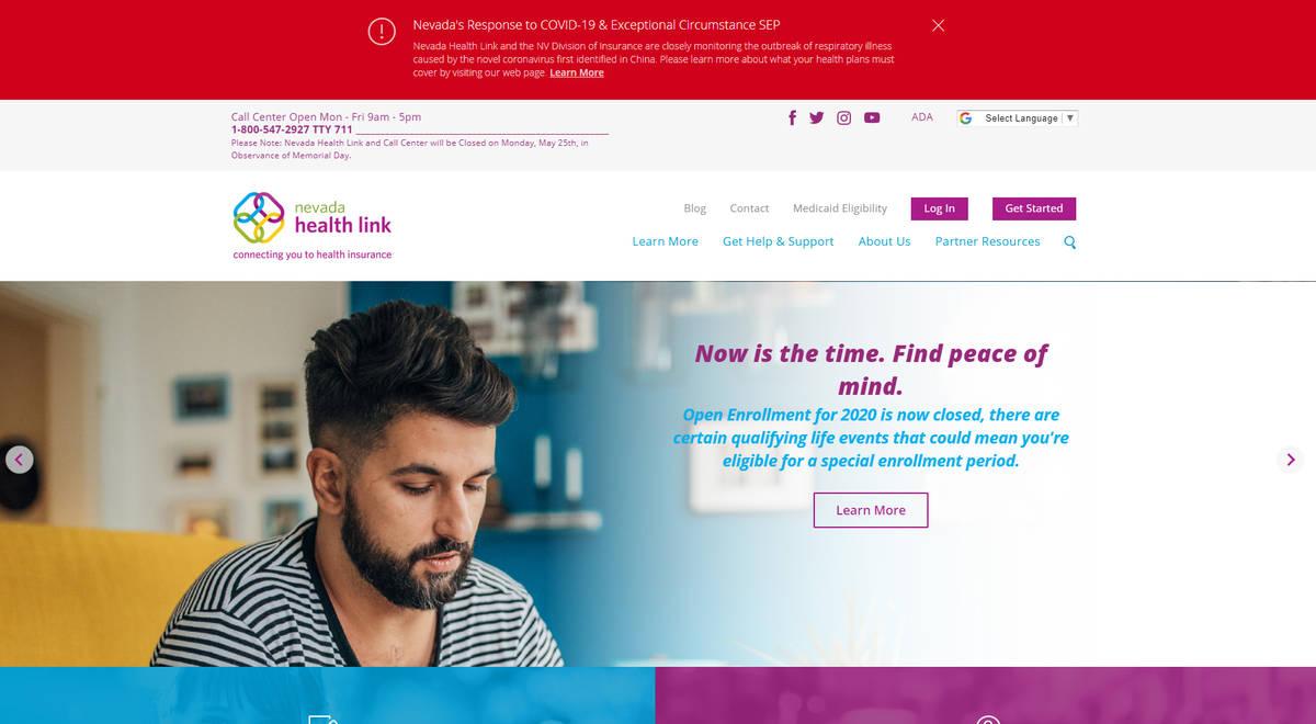 Screenshot of the Nevada Health Link website In response to Gov. Steve Sisolak's March 12 Em ...