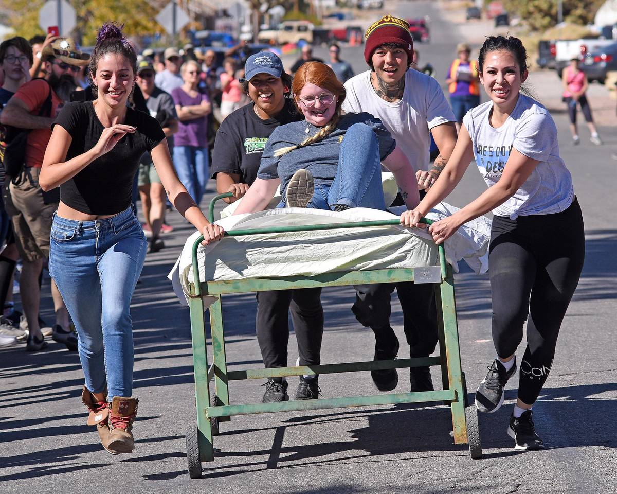 Richard Stephens/Special to the Pahrump Valley Times People participate in the bed races durin ...