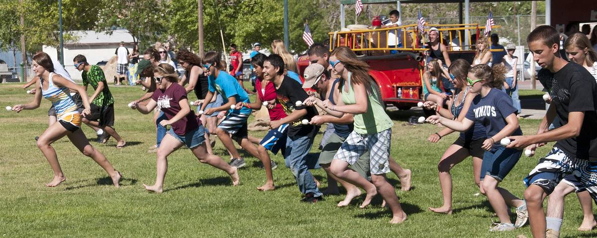 Richard Stephens/Special to the Pahrump Valley Times An egg race in Beatty on July 4, 2010 dur ...