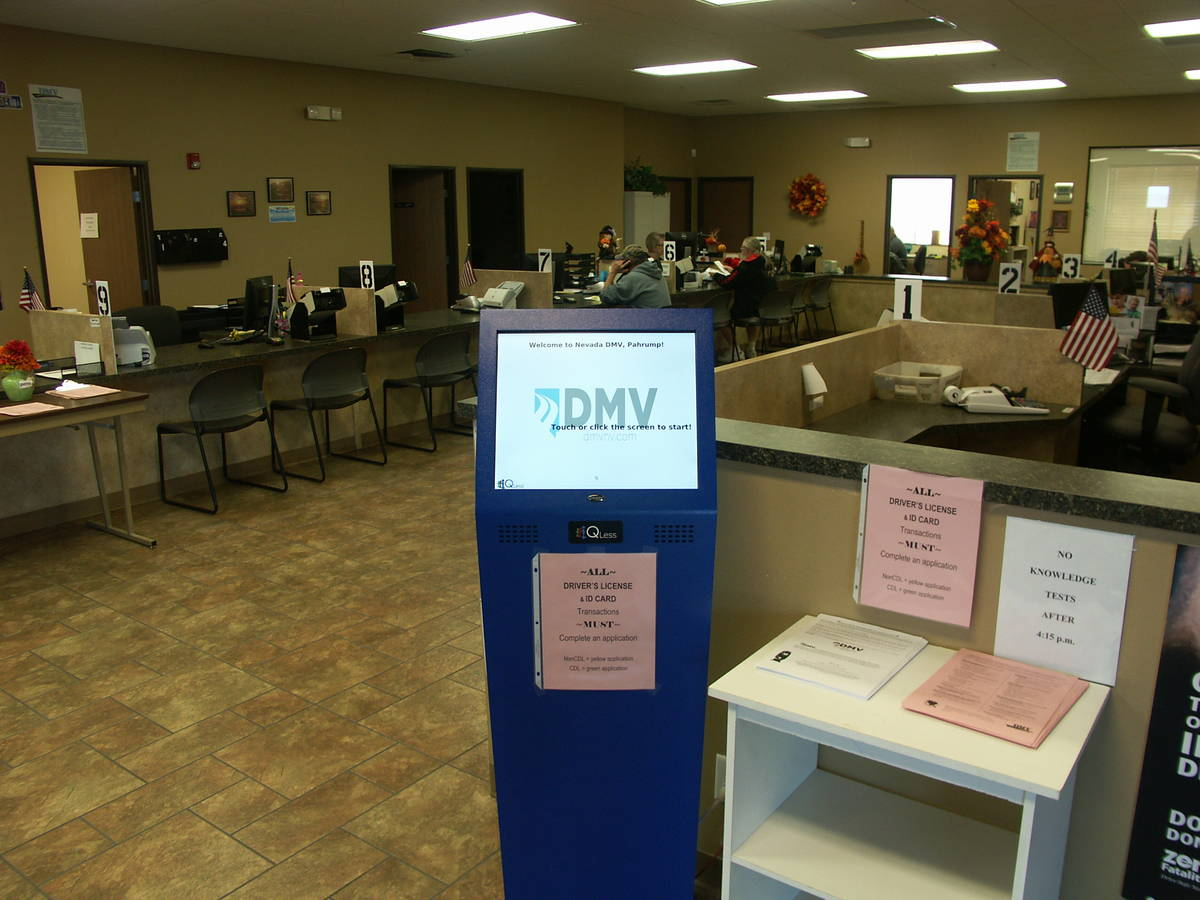 Selwyn Harris/ Pahrump Valley Times The Nevada Department of Motor Vehicles closed its offices ...