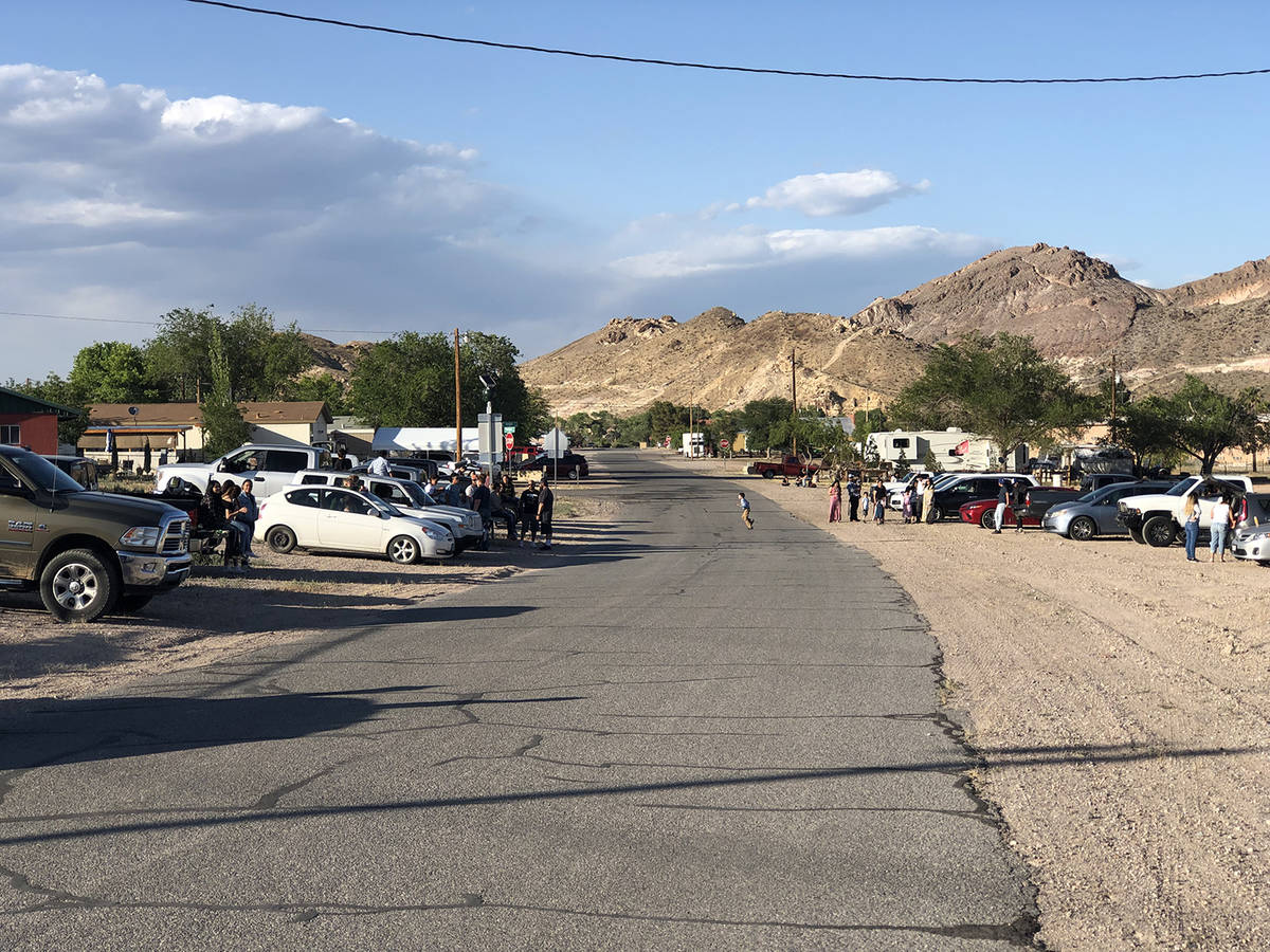 Tom Rysinski/Pahrump Valley Times Family and friends line Amargosa Street in Beatty on Friday n ...